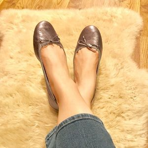 COACH flatiron metallic gunmetal gray flats shoes